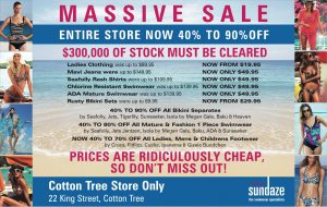Swimwear point of sale advertising and marketing