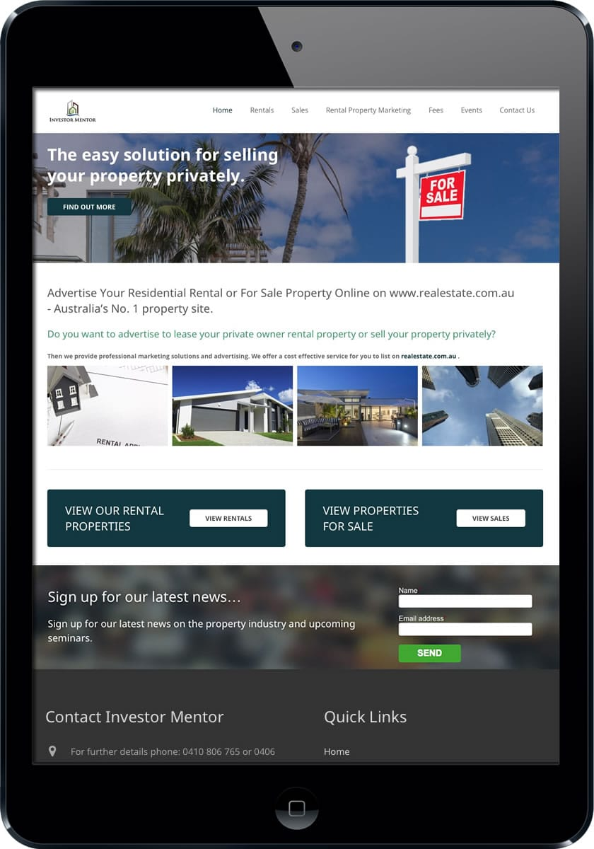 Investor mentor real estate web design