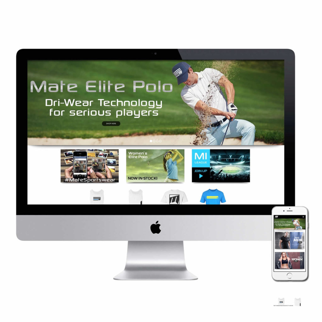 Website design for Australian sportswear and fitness website Mate