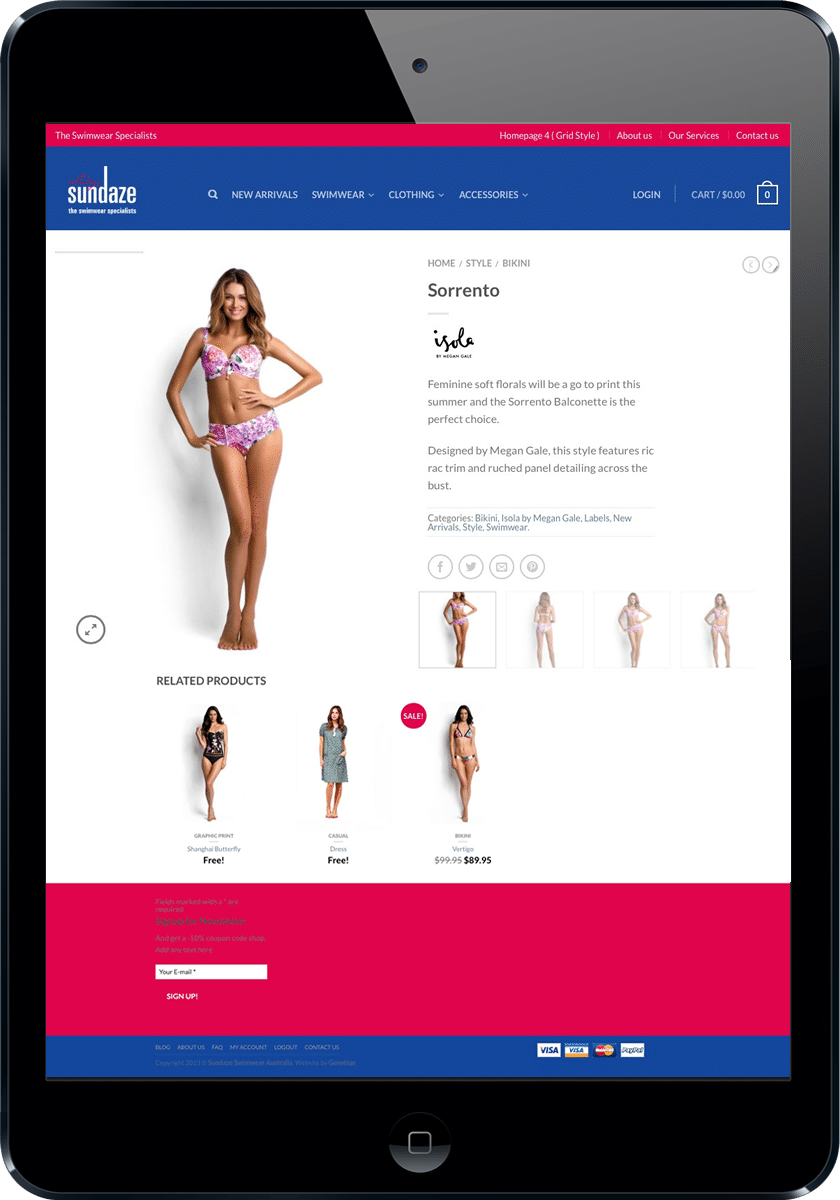 Swimwear website design Sunshine Coast