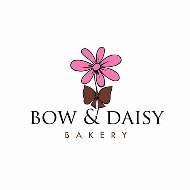 Bow and Daisy Bakery logo design