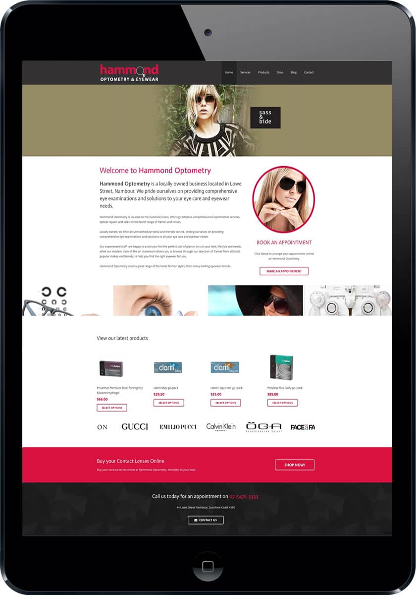 Sunshine Coast Optometry Web design