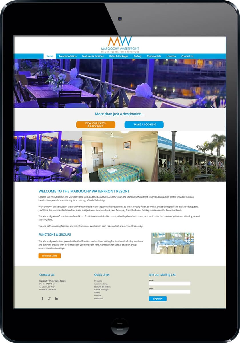 Waterfront Resort Sunshine Coast website