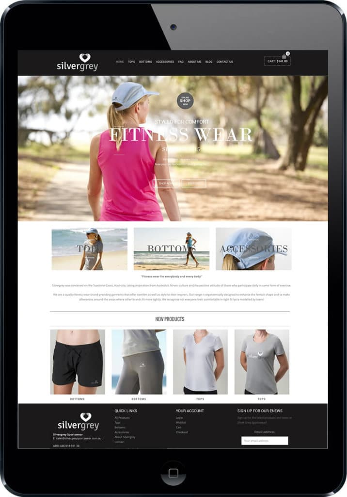 Womens sportswear website development