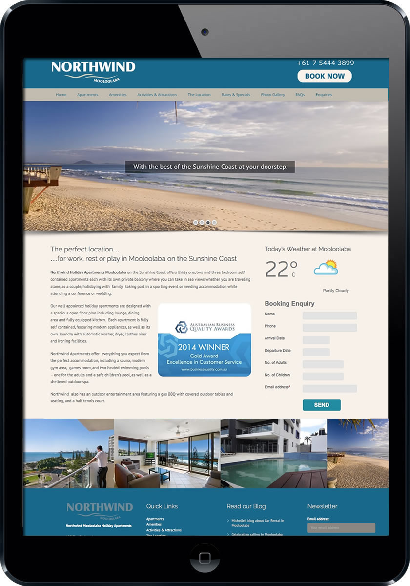 Mooloolaba accommodation web design