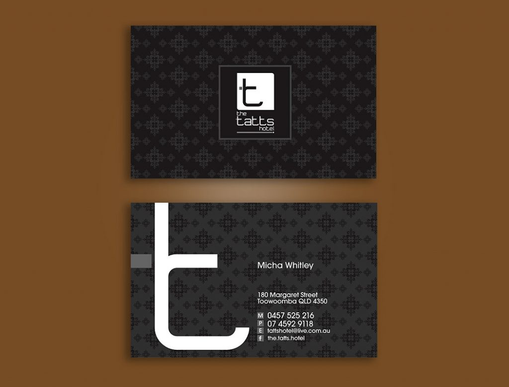 Tatts Hotel Toowoomba Business Cards