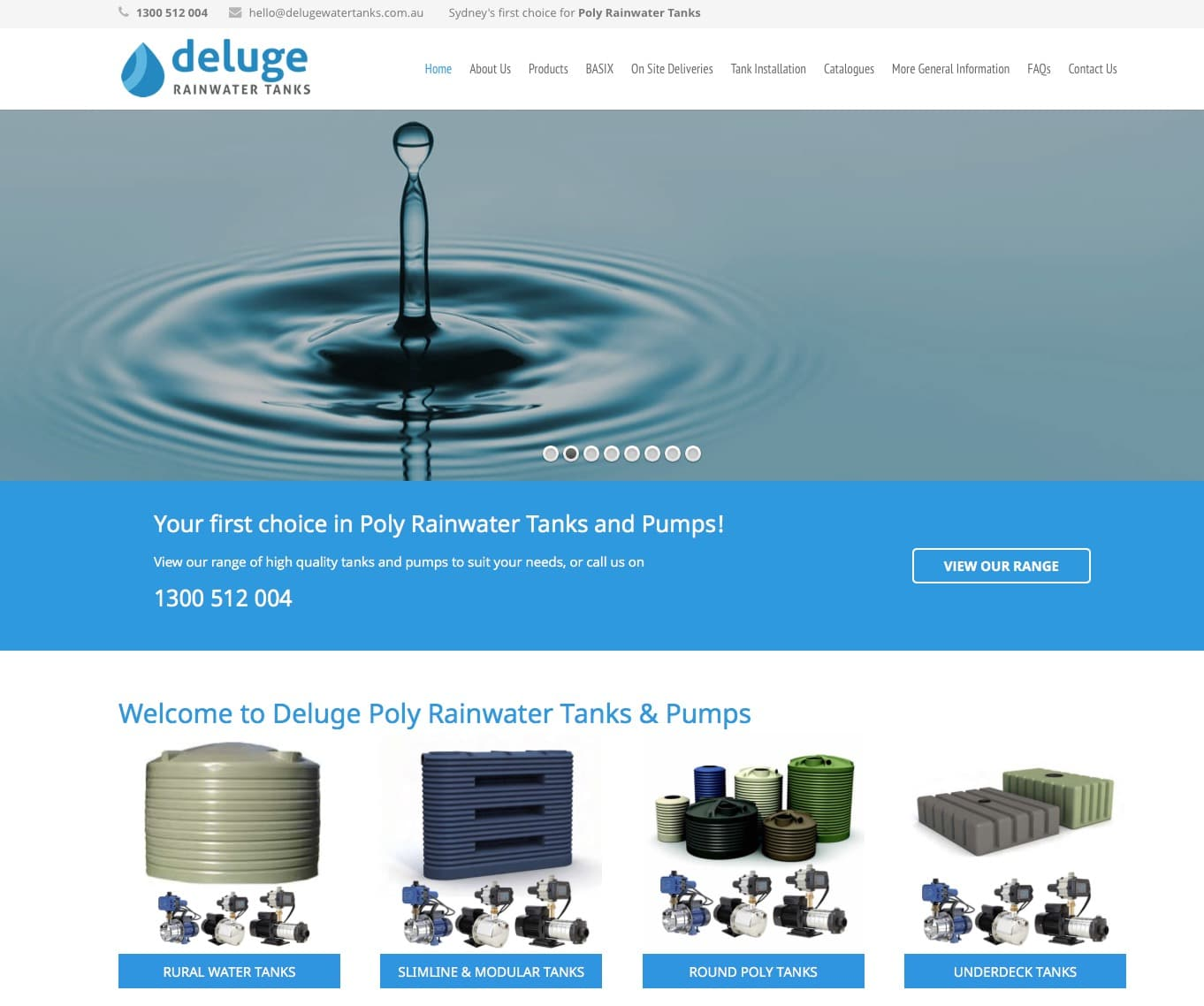 Deluge Rainwater Tanks website design