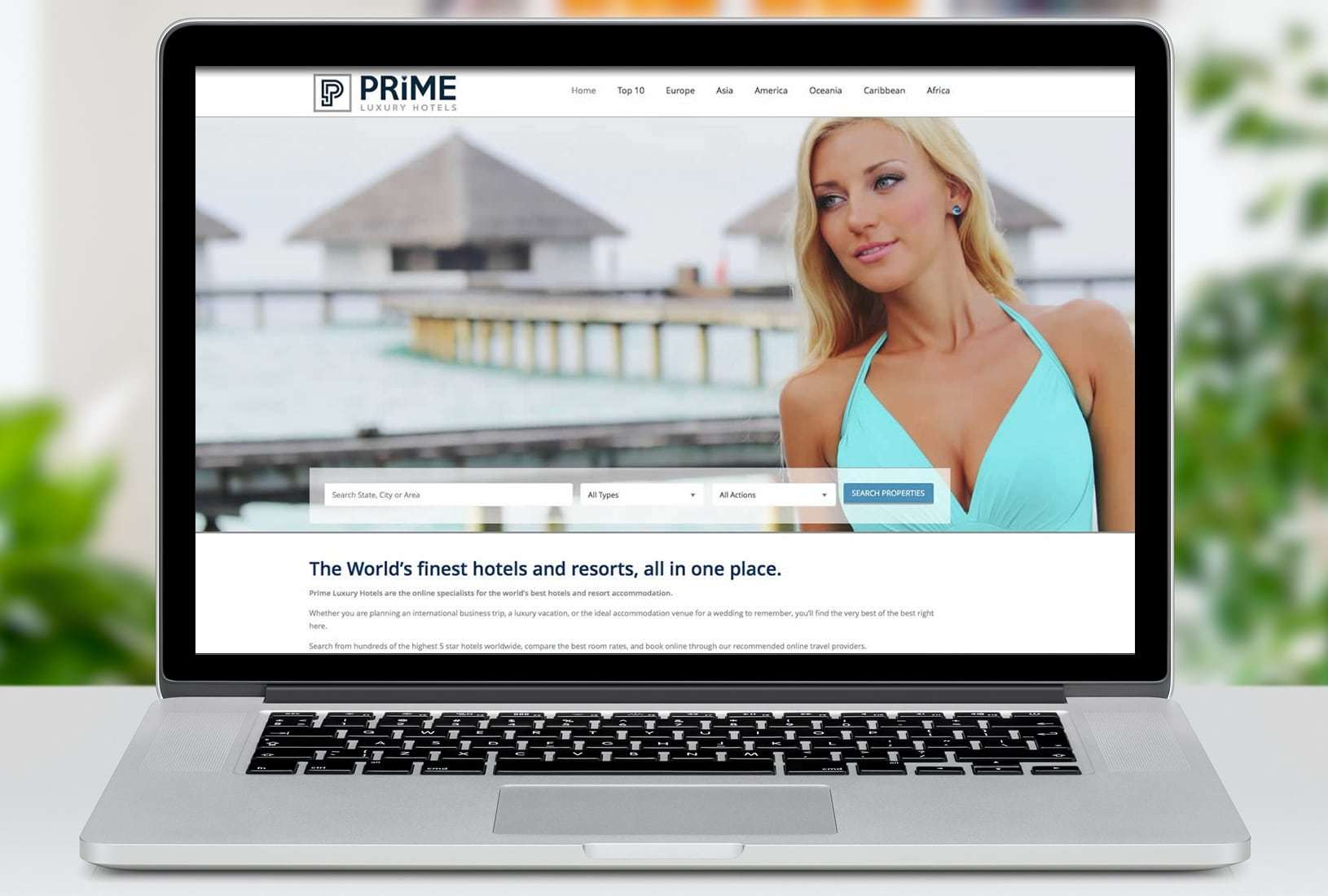 Prime Luxury Hotels Website Design for the luxury tourism industry