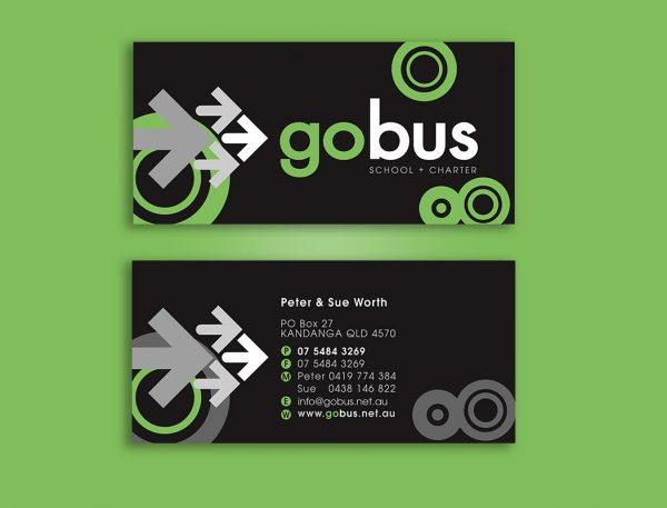 Go Bus service business card design and printing