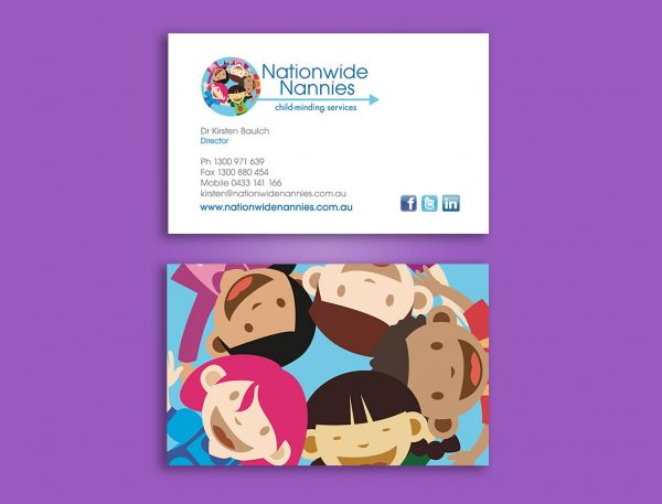 Nanny service business cards design and printing
