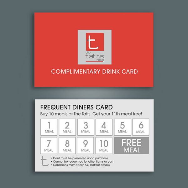 Hotel complimentary drink card printing