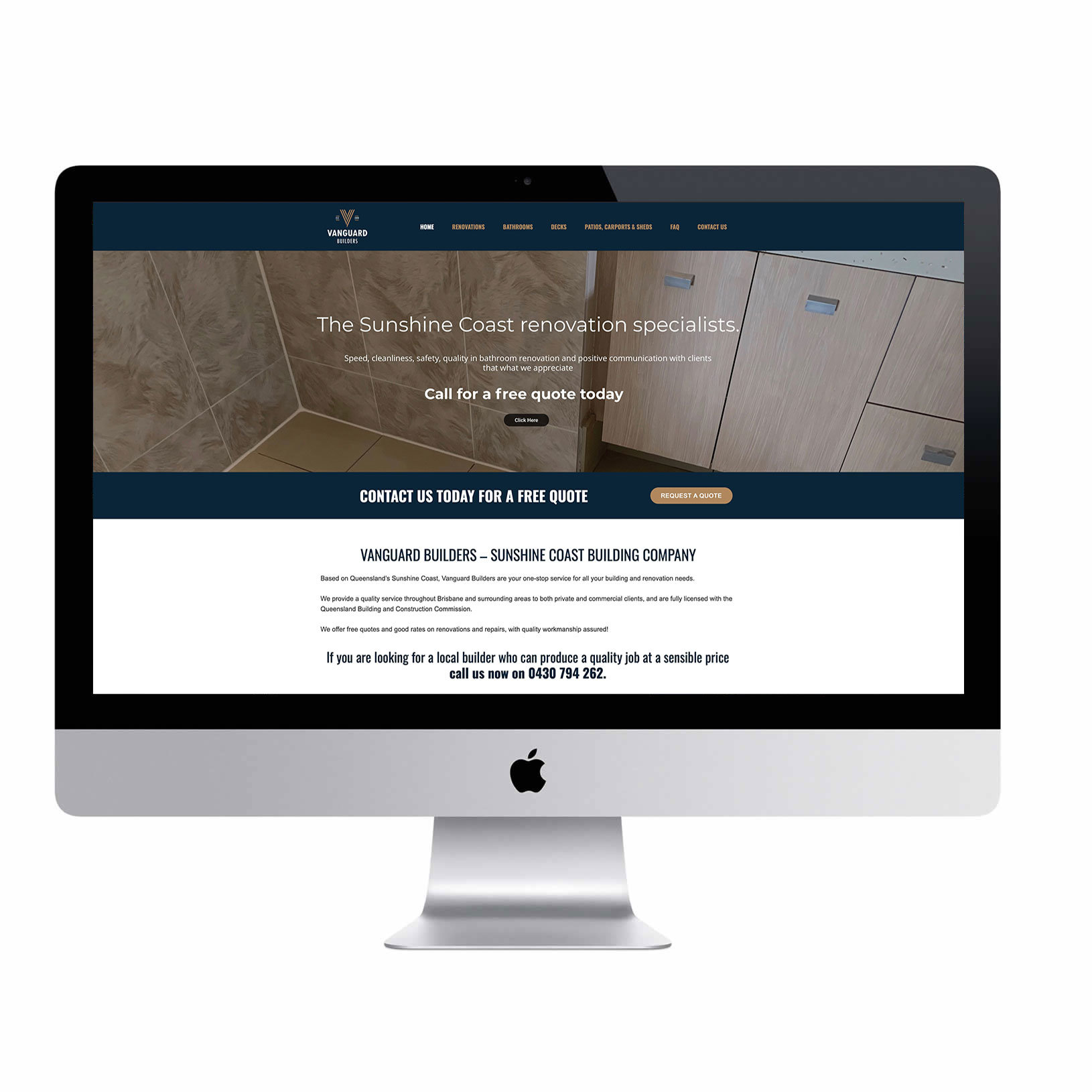 Vanguard Builders and renovations website Sunshine Coast