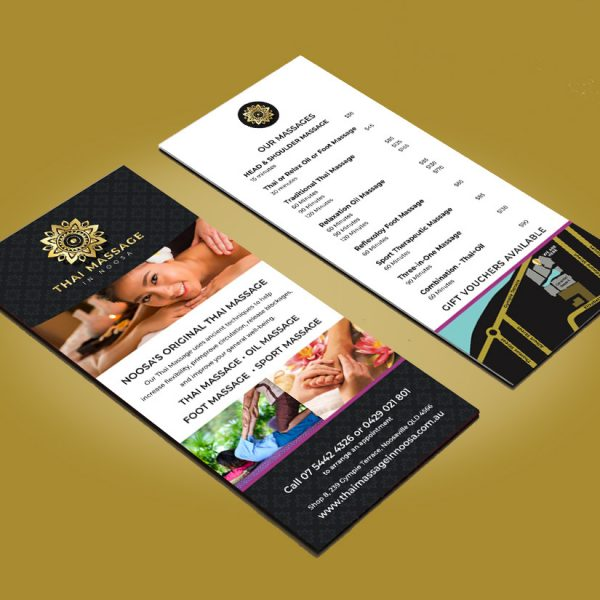 Noosa Massage Flyer Menu Design Sunshine Coast