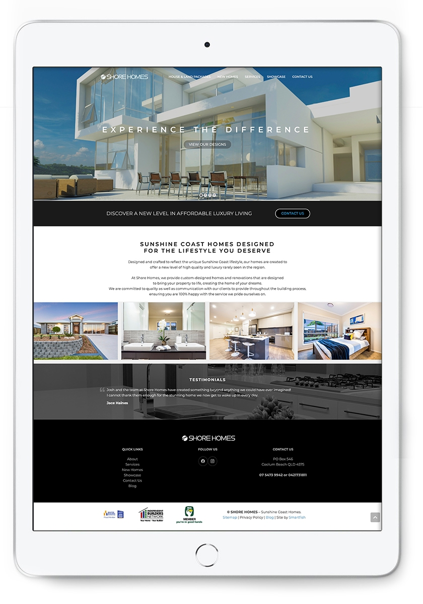 Shore Homes Builders Website Design